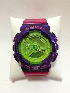 Customized Original G-Shock GA110  [ FUGURI]  Base Watch : Hyper Green [GA-110B-1A3JF] Vesel Portion : Crazy Purple [GD-100SC-6JF] Top Band : Hyper Pink [GA-110B-4JF] Bottom Band : Hyper Pink [GA-110B-4JF]