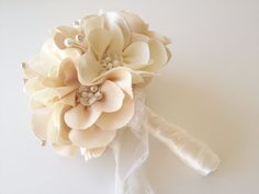 Fabric Flower bouquet...champagne petite cloth magnolias with sprays of pearls and a touch of lace.