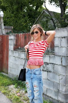 Cute stripes and ripped boyfriend jeans.