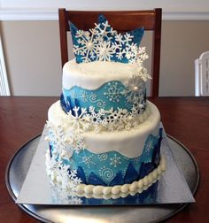 torta frozen con copos de nieve Shannah and Jadens birthday party