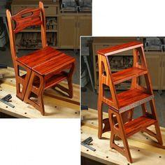 Convertible Step Stool & Chair Herunterladbarer Plan Source by Woodworking Shows, Small Woodworking Projects, Popular Woodworking, Diy Wood Projects, Woodworking Plans, Woodworking Classes, Youtube Woodworking, Woodworking Equipment, Woodworking Joints