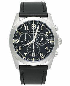 Victorinox Swiss Army Watch, Men's Chronograph Infantry Black Leather Strap 40mm 241588