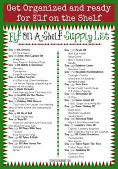 Elf On A Shelf Supply List Printable will keep you organized this holiday season! With a free calendar too!