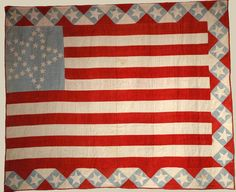"Patriotic quilt by Mrs. Alfred Van Fleet, Illinois, 1866, 80"" x 66"". Pieced and appliqued cottons, with embroidery."