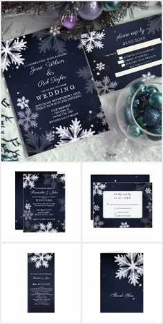 Navy Blue Snowflakes Winter Wedding Invitation. Features a design of white and silver gray snowflakes on a dark navy blue background #Ad