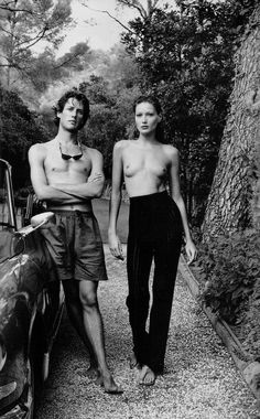 Carla Bruni and her brother, the late Virginio Bruni-Tedeschi, photographed by Helmut Newton for Vanity Fair, 1990s.