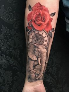150 cool tattoos for women and their meaning- 150 coole Tattoos für Frauen und ihre Bedeutung Tattoo motives, tattoo with red rose, elephant and compass - Upper Arm Tattoos, Arm Tattoos For Women, Tattoo Designs For Women, Forearm Tattoos, Body Art Tattoos, Tattoo Arm, Tattoo Drawings, Sleeve Tattoos, Skull Tatto