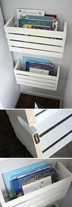 Brilliant DIY Shelves for Your Home DIY Wood Crate Book Shelves. Paint these wooden crates in white! They are not only perfect for storing kids' books within their reach, but also serve as the great home decor piece!