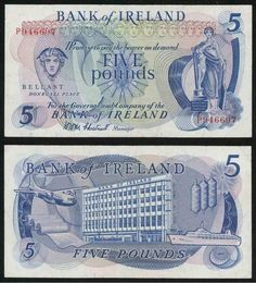1971 Bank of Ireland Northern Ireland Five Pounds Banknote Pick Number Nice Very Fine Currency Note Money Worksheets, Money Notes, Coin Collecting, Northern Ireland, Graffiti, Irish, Relative Clauses, Weapons Guns, Pennies