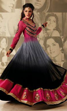 Buy Online Multicolor Anarkali Churidar Kameez Set. Buy Designer Anarkali Dress. Designer Anarkali Salwar Kameez.