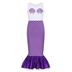 dPois Kids Girls Mermaid Scales Printed Sleeveless Long Dress Halloween Theme Party Fancy Costumes Set Include: Mermaid Dress Condition: New with tag Material: Polyester Spandex Mesh Color: White & Purple(as pictures show) Tag No. Girls Mermaid Costume, Mermaid Halloween Costumes, Girls Mermaid Tail, Halloween Party Themes, Fancy Costumes, Halloween Dress, Halloween Cosplay, Girl Costumes, Mermaid Tails