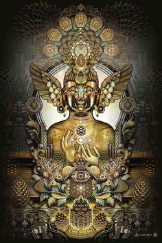 "Third Eye Tapestries - ""Pinecone Buddha"" by Mugwort"