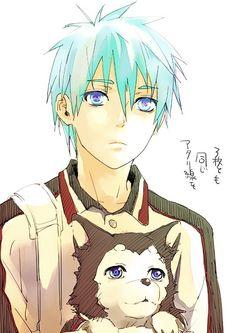 Kuroko Tetsuya (Kuroko no Basket) << i love so much kuroko and his dog
