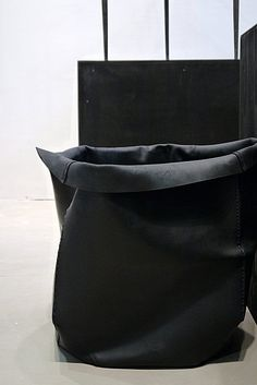 black leather boxes by Rick Owens