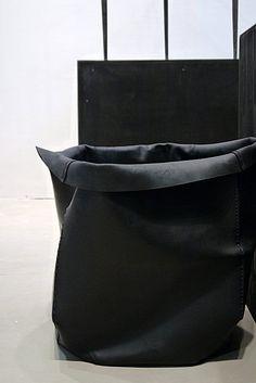 Black fabric storage bin