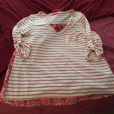 Boutique brand 3/4 sleeve lace back top Super cute size medium boutique top. Only washed and worn once. Tops Blouses