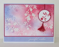 embossed resist with sponging and ove-rstamping . luv the tassel on the focal point element . Chinese New Year Card, Asian Cards, Embossed Cards, Card Sketches, Graphic Design Posters, Stationery Design, Card Tags, Paper Cards, China