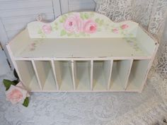 GORGEOUS WALL TABLE SHELF hp roses chic shabby vintage cottage hand painted AVAILABLE ON EBAY ~ ARTIST D.SOMMERS