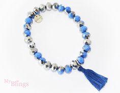 Kralen armband in het blauw/zilver met een kwastje eraan - myblings.nl