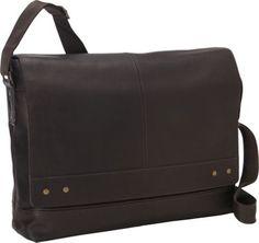 eBags Colombian Leather Rivet Laptop Messenger Brown - via eBags.com!