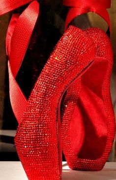 Red crystal ballet shoes
