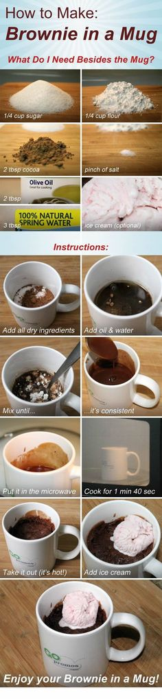 Muffin in a Mug in under 2 minutes! 1/4 cup sugar 1/4 cup flour 2 tbsp cocoa pinch of salt 2 tbsp olive oil 3 tbsp water (ice cream optional) 1) add all dry ingredients 2) add oil and water 3) mix until consistent 4) microwave for 1min 40 sec (times vary) 5) remove (add ice cream) ENJOY!