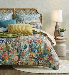 The distinctively bold aesthetic of the Palina quilt cover will inspire a new bedroom style. An eclectic mix of pattern on pattern combines bold, stylised flowers and foliage with tear drops, linear stripes and spots to create this statement design. Classic Home Decor, Cute Home Decor, Unique Home Decor, Home Decor Bedroom, Living Room Decor, Bedroom Ideas, Master Bedroom, Bedroom Inspo, European Pillows