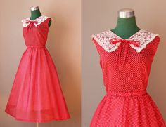 Vintage 1950s Holly Red Dress / Dotted Swiss Lace Collar  50s Party Dress. $82.00, via Etsy.