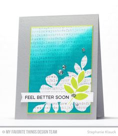 Handmade card from Stephanie Klauck featuring Flashy Florals stamp set, Typewriter Text Backgrounds stamp, and Stitched Rectangle STAX and Blueprints 28 Die-namics #mftstamps