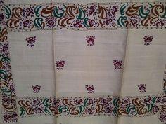 91x36 Cream Indian Tussar Silk Shawl Scarf Hand Painted Floral Extra Long Shawl (J14206). $32.99, via Etsy.