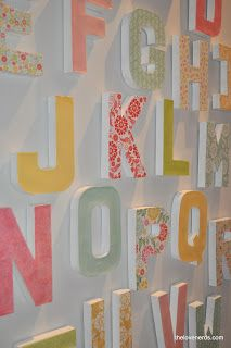 Scrapbook Paper Mache Letter Wall Tutorial This would be great for office decor, nursery decor, or a kid's room. @thelovenerds.com
