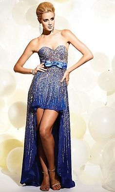 Shining High-Low Dress!  sweetheart neckline  sequin bead