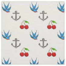 This cotton fabric features a teen girl's or women's 1950's tattoo themed pattern and features bluebirds, cherries and anchors all over. Make it a one of a kind, customise it by changing the background colour to whatever tickles your fancy!