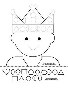Cut and glue. Can also glue on jewel pieces to decorate crown. Class Activities, Kindergarten Activities, Pre School, Sunday School, Chateau Moyen Age, Shape Games, Princess And The Pea, Bible Crafts, Fairy Tales