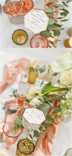 Copper and marble geometric wine label via 4lovepolkadots / http://www.deerpearlflowers.com/modern-copper-marble-wedding-inspiration/
