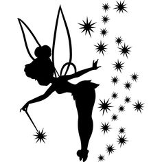 Wandschablonen zum Ausdrucken – 34 kostenlose Vorlagen mit tollen Motiven The fairy Tinker Bell as a template for the wall Disney Tattoos, Stencil Fabric, Stencils, Stencil Printing, Tinkerbell Pumpkin Stencil, Disney Sticker, Silhouettes Disney, Vinyl Decals, Wall Decals