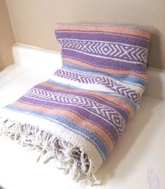 RESERVED Vintage Southwestern Blanket Pink/Blue Woven Wool Throw Navajo Aztec Tribal Mexican Indian Rug Saddle Serape Table Runner Home on Etsy, $36.50