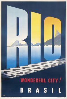 1965 Travel Beach Poster : Rio, Brazil (Brasil) - Wonderful City!  #essenzadiriviera www.varaldocosmetica.it/en