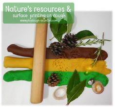 Surface printing on playdough with nature's natural resources