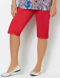 This casual capri is a welcomed addition to your wardrobe with its  crisp poplin fabric and rolled-up button tabs at the hem. Stretch elastic waistband and side extender button tabs give you a custom fit. Features a cargo waist pocket and back patch pockets. Complete with a zip opening and button closure. Catherines pants are specifically designed with the plus size woman in mind. catherines.com