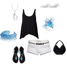 Turquoise and Black, created by ashlee470 on Polyvore