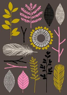 """Nature Trail No1"" limited edition giclee print by Eloise Renouf. This piece incorporates the colours olive green, hot pink, black and stone on a dark brown/slightly plum-coloured background. All my images start life as something hand created, either painted, printed or drawn. My images are then digitally arranged and coloured."