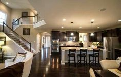 Pulte Homes, Eden Plan - open kitchen, dining, living, with e-space/homework