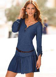 Vestido mujer manga larga punto con guipur