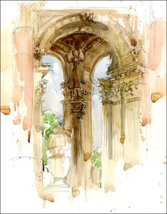 Urban Sketchers: Marc Holmes. simple and beautiful pen and ink wash