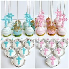 Communion Cross Cake Pops and Cupcakes Baptism Cake Pops, Baby Baptism, Chocolates, Baptism Desserts, Cross Cookies, Cake Pop Decorating, Religious Cakes, Chocolate Covered Treats, Cake Factory