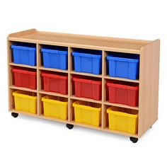 Storage Unit   12 Coloured Tubs - Designed to meet the demands of the classroom, this storage unit is manufactured from 15mm mfc with a contemporary beech finish. With lockable castors and 12 coloured tubs.