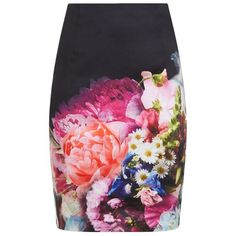 Ted Baker Karyce Floral Pencil Skirt ($165) ❤ liked on Polyvore featuring skirts, silk camisole, print cami, floral skirt, flower print skirt and silk skirt