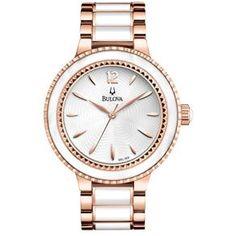 ab070196f27  PATROAMOB Relógio Feminino Analógico Bulova Fashion Wb22186z - Branco E  Rosé - R 859