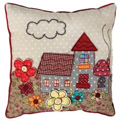Mini Patchwork Cottage Cushion | dotcomgiftshop
